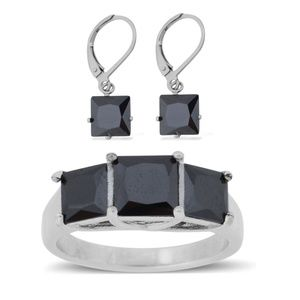 Jewelry - Simulated Black Diamond Ring S. 4.5 & Earring Set